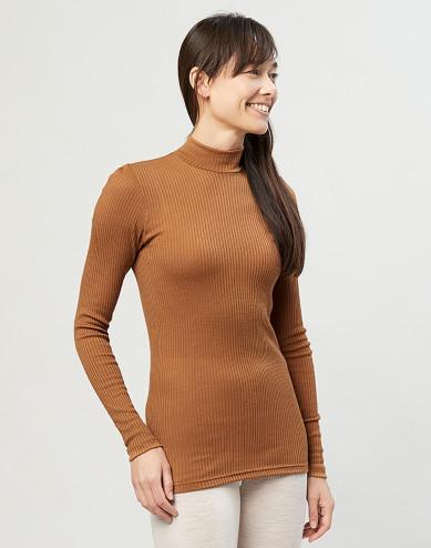 Geribde merino trui met kraag karamel