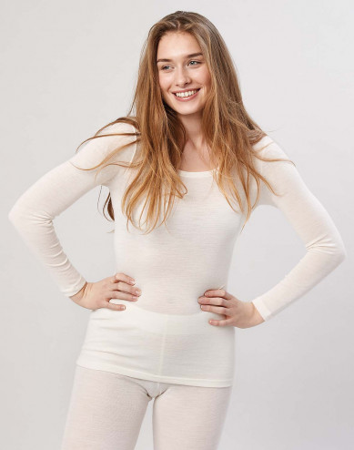 Merinos dames shirt met lange mouwen natuur