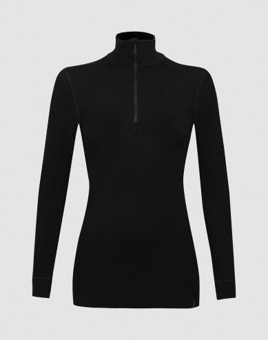 Merino dames shirt met ritssluiting zwart