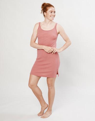 Merino nachthemd met bandjes Roze