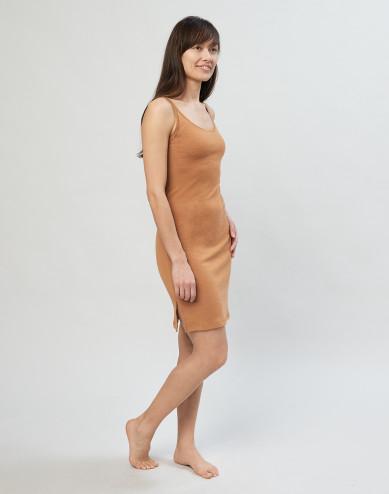 Merino nachthemd met bandjes karamel