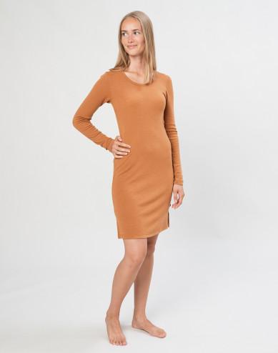 Merino nachthemd met lange mouwen karamel