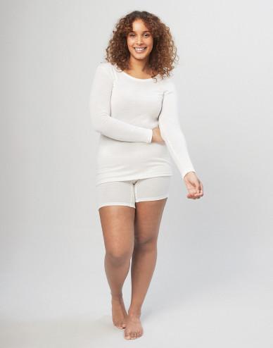 Merino wollen dames shorts met brede elastische band natuur