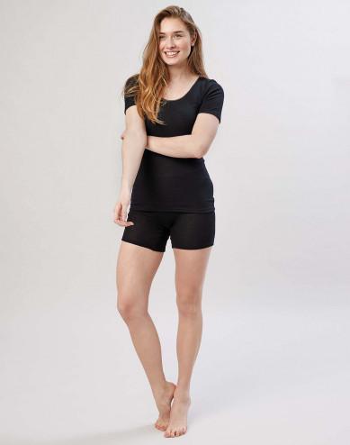 Merino wollen dames shorts met brede elastische band zwart