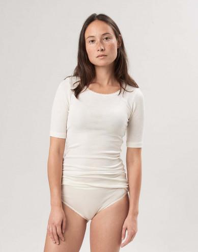 Wol zijde shirt met halflange mouwen voor dames natuur