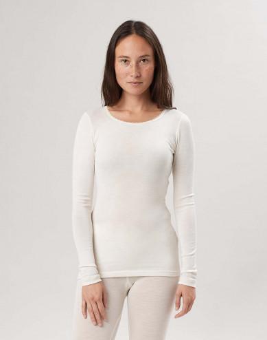 Dames shirt met lange mouwen uit een fijne combinatie van wol /zijde natuur