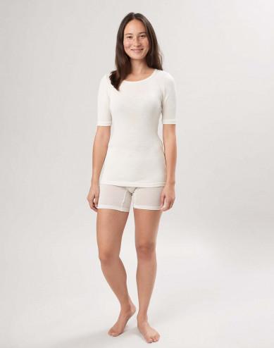 Dames shorts van fijne wol en zijde natuur