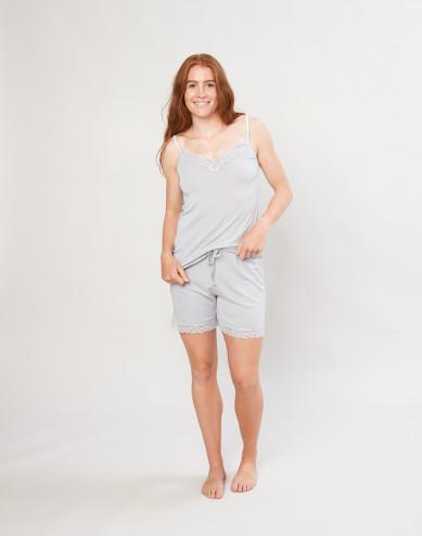 Dames pyjama shorts van zachte wol en zijde grijs