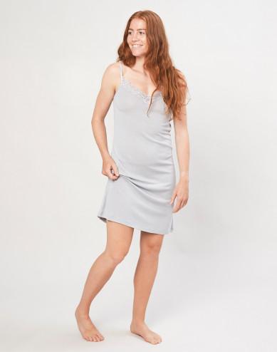 Dames nachthemd van biologische wol en zijde grijs