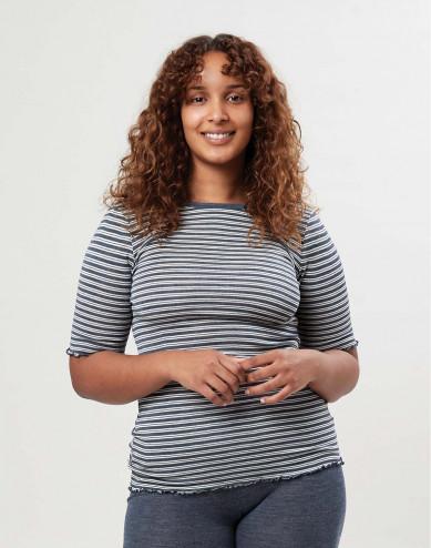 Merino wollen/zijden T-shirt met ruches aan de mouwen voor dames