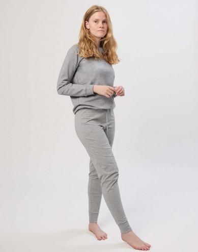 Katoenen pyjamabroek voor dames gemêleerd grijs