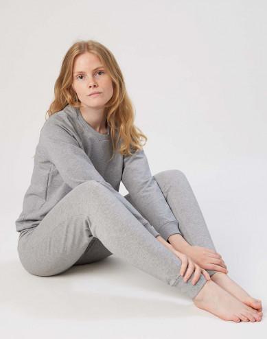 Damessweatshirt van katoen gemêleerd grijs
