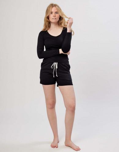 Katoenen shorts voor dames zwart