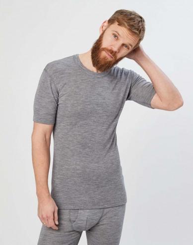 Merinos shirt met halflange mouwen voor heren grijs