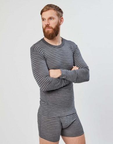 Merinos shirt met lange mouwen voor heren grijze strepen