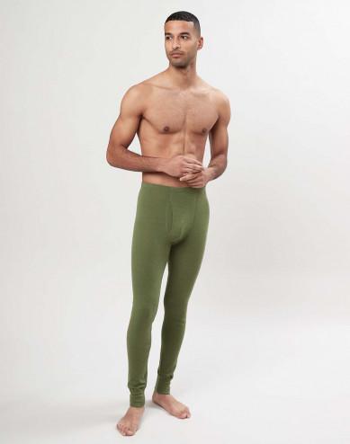 Merino wollen lange onderbroek met gulp voor heren - avocadogroen