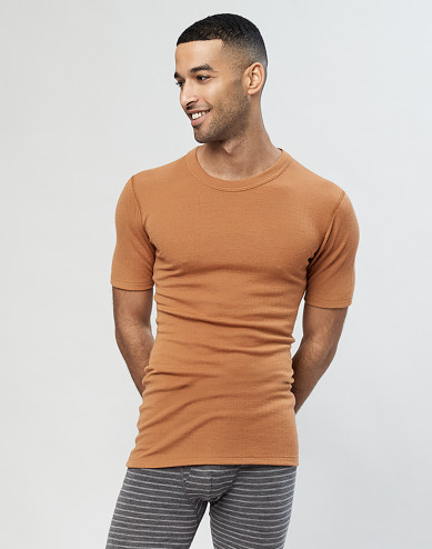 Geribd heren t-shirt karamel