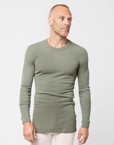 Heren trui van merino wol olijfgroen