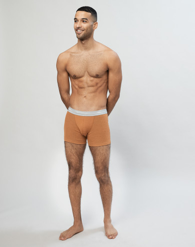 Geribde merino boxershort karamel