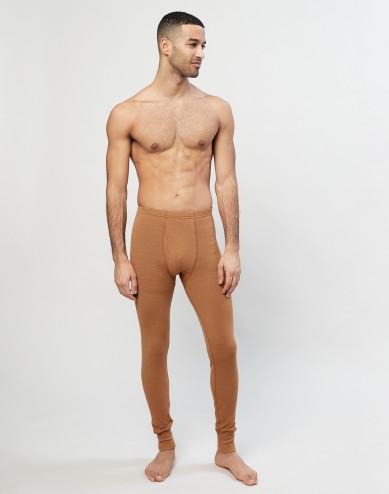 Geribde lange merino onderbroek karamel