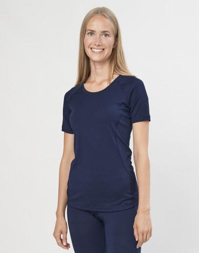 Dames T-shirt - exclusieve biologische merino wol marineblauw
