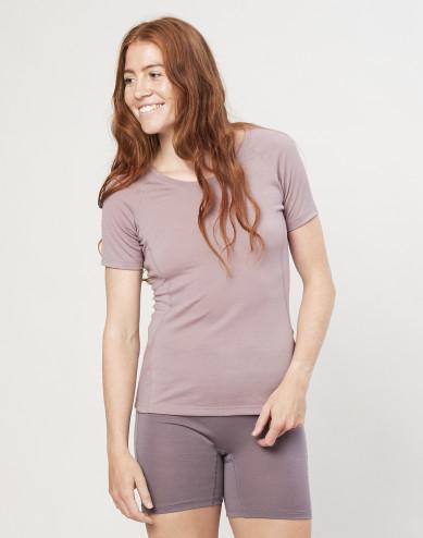 Dames T-shirt - exclusieve biologische merino wol oudroze