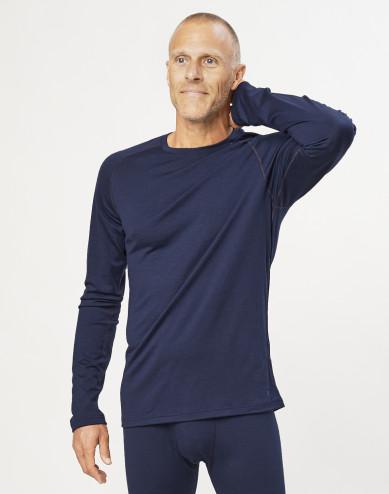 Heren trui van exclusieve biologische merino wol marineblauw