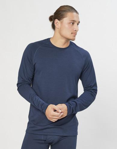Heren trui van exclusieve biologische merino wol grijsblauw