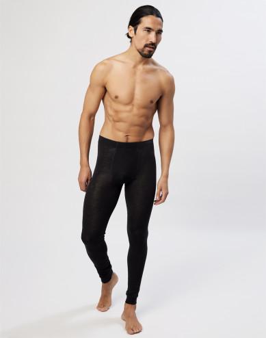 Lange onderbroek van biologische merino wol / zijde met gulp voor heren - zwart