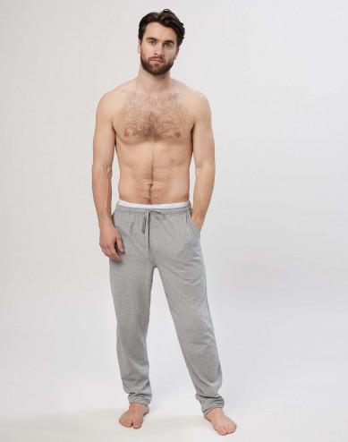 Heren pyjamabroek in katoen grijs gemêleerd